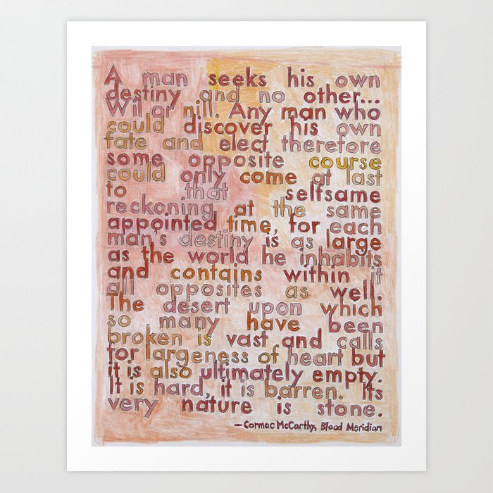 Cormac Mccarthy On The Southwest From Geography Series Art Print