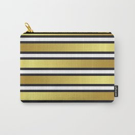 Luxe Gold Metallic and Black Stripes Pattern Carry-All Pouch