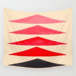 Vintage Scandinavian Red Geometric Triangle Pattern Wall Tapestry
