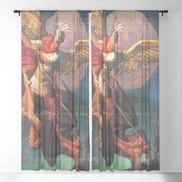 Saint Michael the Warrior Archangel Sheer Curtain