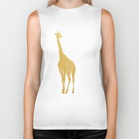 gold foil Biker Tanks featuring Gold Foil Giraffe by Mod Pop Deco