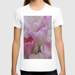 White And PinkTulip Flowers T-shirt