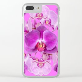 Ornate Pink & Purple  Butterfly Orchids Clear iPhone Case