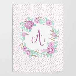 Monogram A - cute girls purple florals flower wreath, lilac florals, baby girl, baby blanket Poster