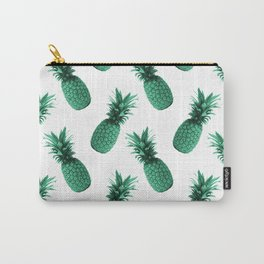 Pineapple Pattern - Tropical Pattern - Summer- Pineapple Wall Art - Blue, White - Minimal Carry-All Pouch