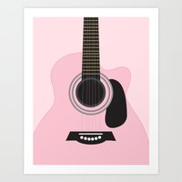 Musician Collection-Pink Acoustic Guitar  Art Print
