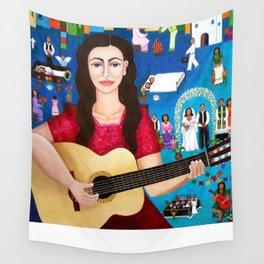 Violeta Parra playing guitar Wall Tapestry