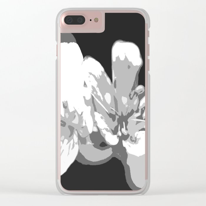 Retro Flowers in Black and White #decor #society6 Clear iPhone Case