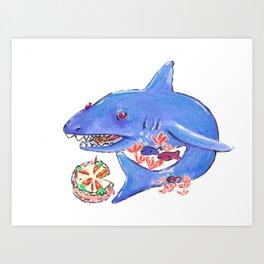 Carrot Cake Shark Art Print