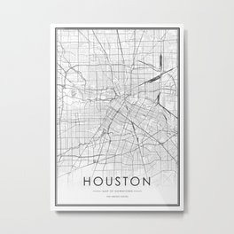 Houston City Map United States White and Black Metal Print