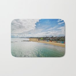 Aerial view of Brighton Beach bathing huts on a bright sunny day Bath Mat