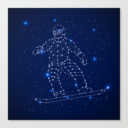 Celestial map with the constellation-Snowboarder and space stars. Extreme sport snowboarding Canvas Print