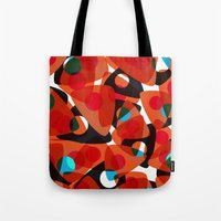70s Tote Bags featuring orange 70s by Matthias Hennig