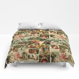 Vintage Victorian Christmas Collage Comforters