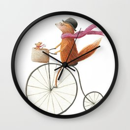 Vintage Fox & Mouse Illustration Wall Clock