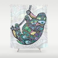 sloths Shower Curtains featuring Sleepy Sloths by LindseyRossInk