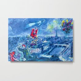 View of Paris by Marc Chagall Metal Print