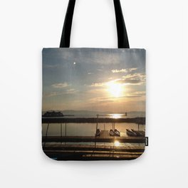 Lake Champlain Ferry to Burlington Vermont at Sunset Tote Bag