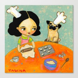 Kitchen Art Pug dog helps make perogies cute food art poster painting  by Tascha Canvas Print