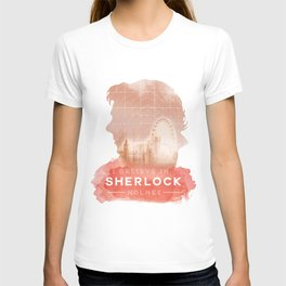 BBC Sherlock Holmes Watercolor Sillhouette Graphic T-shirt