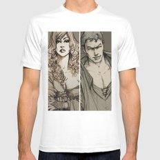 Lancelot and Guinevere MEDIUM Mens Fitted Tee White