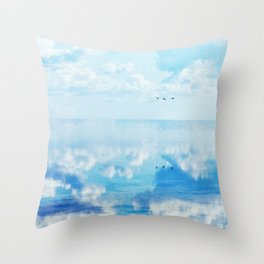 Ducks over sea Throw Pillow