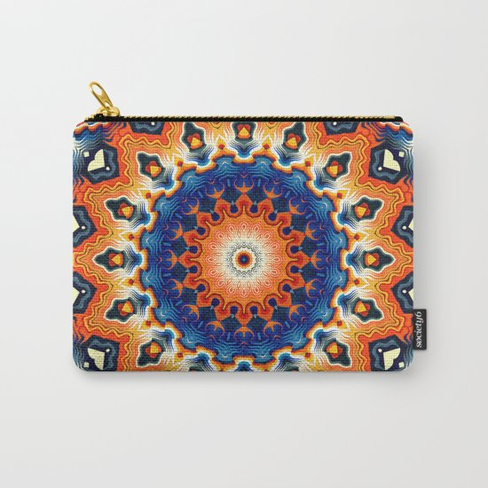 Geometric Orange And Blue Symmetry Carry-All Pouch