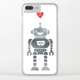 Robot Love Clear iPhone Case