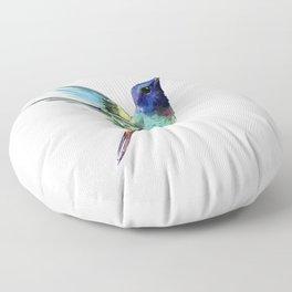 Flying Hummingbird flying bird, turquoise blue elegant bird minimalist design Floor Pillow