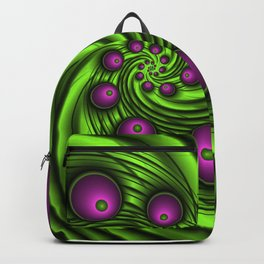 In the Vortex Fractal Neon Pink Green Backpack