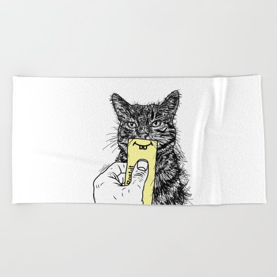 Cat Emoji - P0st it with a smile Beach Towel