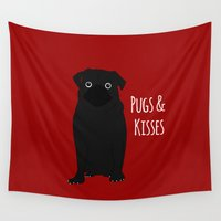 pugs Wall Tapestries featuring Pugs And Kisses by Laura Maria Designs