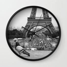 Paris. Colombe a la Tour Eiffel. Wall Clock