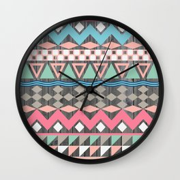 Vintage Wood Aztec, Andes Teal & Pink Abstract Pattern Wall Clock