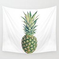 pineapple Wall Tapestries featuring Pineapple by Cassia Beck