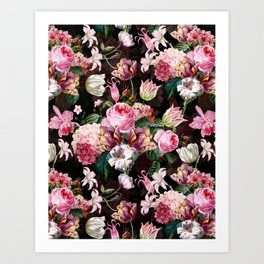 Vintage & Shabby Chic - Midnight Rose Garden Art Print