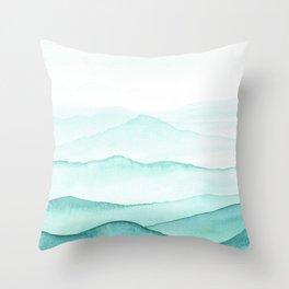 Mint Mountains Throw Pillow