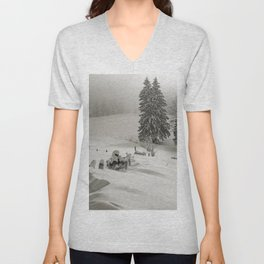 Snow covered mountain meadow fith pine trees and fence Unisex V-Neck