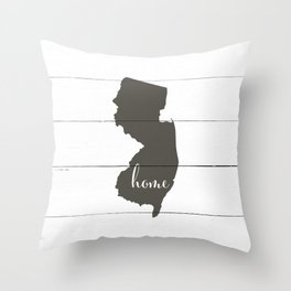 New Jersey is Home - Charcoal on White Wood Throw Pillow