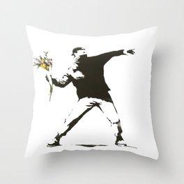 Banksy - Man Throwing Flowers - Antifa vs Police Manifestation Design For Men, Women, Poster Throw Pillow