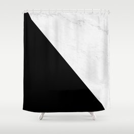 Marble And Black Diagonal Shower Curtain