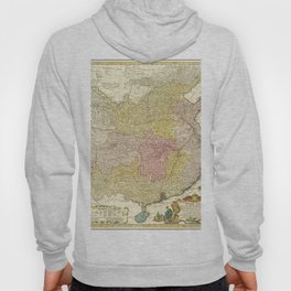 Vintage Map Print - 1740 map of China, published by Homannsche Erben Hoody