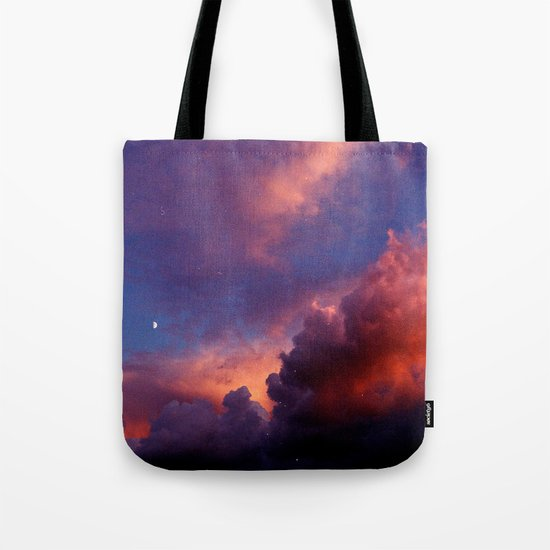 Moon in Sunset Clouds Tote Bag