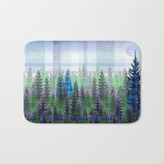 Nature Reflected Plaid Pine Forest Bath Mat