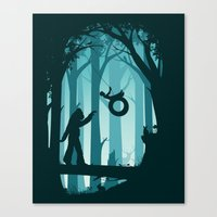 sasquatch Canvas Prints featuring Sasquatch & Me by Jay Fleck