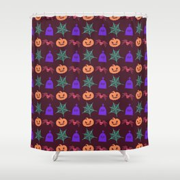 Happy halloween pumkins,web,spiders and graves pattern Shower Curtain