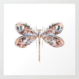 Metallic Dragonfly Art Print
