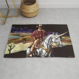 Black Velvet John Wayne Riding a Unicorn Rug