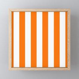 Bright Tumeric Orange and White Wide Vertical Cabana Tent Stripe Framed Mini Art Print