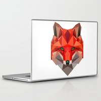low poly Laptop & iPad Skins featuring Low poly Fox by exya